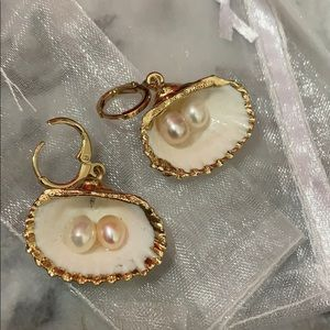 Gold dipped Shell & Pearl Earrings